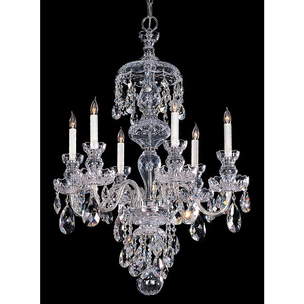 Traditional Crystal 10 Light Clear Crystal Chrome Chandelier 32'' W x 36'' H