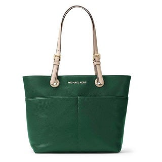 Michael Kors Bedford Moss Green Top Zip Pocket Handbag Tote Bag