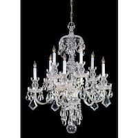 Crystorama Traditional Crystal Collection 10-light Polished Brass/Swarovski elements Spectra Crystal Chandeli