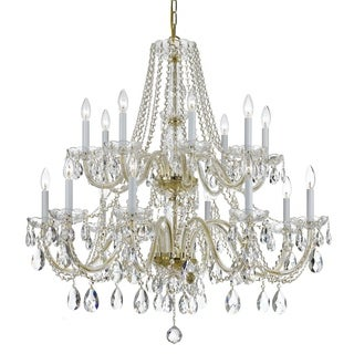 Crystorama Traditional Crystal Collection 16-light Polished Brass/Swarovski Spectra Crystal Chandelier