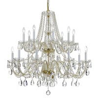 Crystorama Traditional Crystal 16-light Brass/Swarovski Spectra Crystal Chandelier - Gold