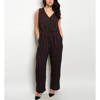 JED Women's Plus Size Striped V-neck Jumpsuit
