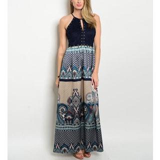 JED Women's Blue Border Print Halter Maxi Dress