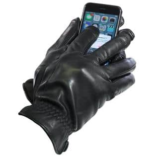 Isotoner Men's Touch Screen Black Leather Thermaflex-lined Gloves|https://ak1.ostkcdn.com/images/products/13915120/P20549283.jpg?impolicy=medium