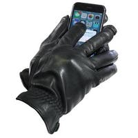 Isotoner Men's Touch Screen Black Leather Thermaflex-Lined Gloves