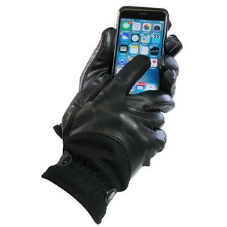 Isotoner Men's Black Leather/Wool Thermaflex-lined Touchscreen Gloves
