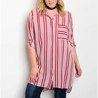 JED Women's Red Striped Plus-size Button-down Tunic Shirt