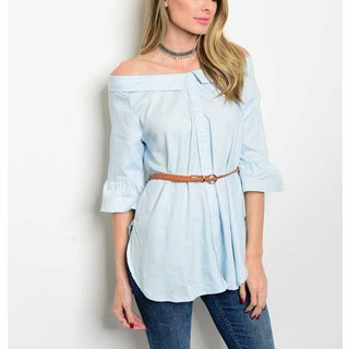 JED Women's Off Shoulder Belted 3/4 Sleeve Top