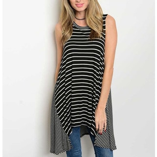JED Women's Black and White Rayon and Spandex Contrasting Stripes Soft Tunic Tank Top