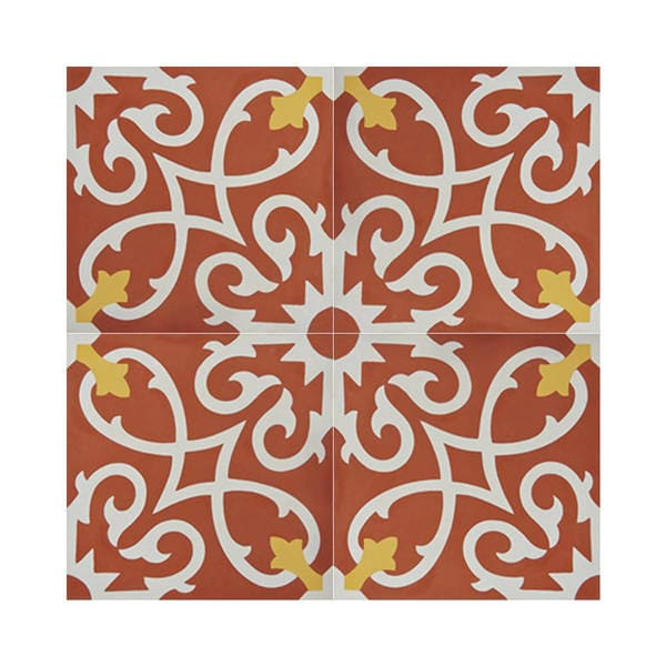 Shop Agadir Red And White Handmade Moroccan 8 X 8 Inch Cement And