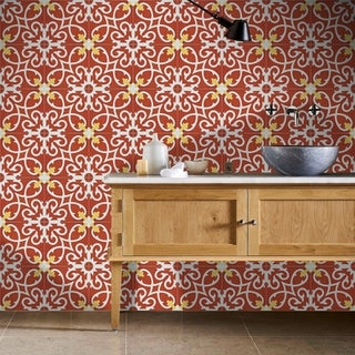 Agadir Red and White Pack of 12 Handmade 8 x 8 Cement Tiles (Morocco)