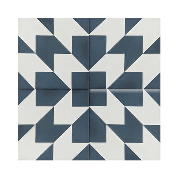 Oujda Handmade Moroccan Blue/ White Cement Tiles (Case of 12)