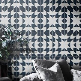 Oujda in NavyBlue and White Handmade 8x8-in Moroccan Tiles