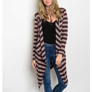 JED Women's Striped and Ribbbed Stretchy Long-sleeved Waterfall Cardigan