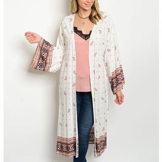 JED Women's White Oversized Paisley Print Long Kimono
