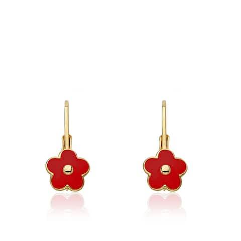 Little Miss Twin Stars Frosted Flowers Gold Overlay Pink Enamel Flower Leverback Earrings