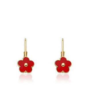 Little Miss Twin Stars Frosted Flowers Gold Overlay Pink Enamel Flower Leverback Earrings (3 options available)