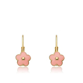 Little Miss Twin Stars Frosted Flowers 14k Gold Overlay Pink Enamel Flower Leverback Earrings
