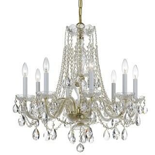 Crystorama Traditional Crystal 8-light Brass/Swarovski Strass Crystal Chandelier - Polished brass