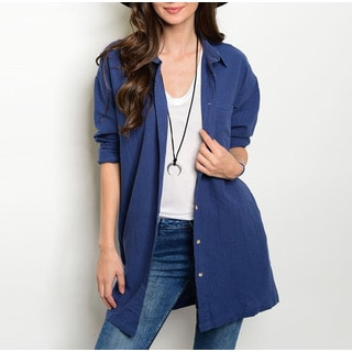 JED Women's Navy Relaxed-fit Cardigan/Button-down Overshirt