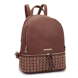 Dasein Faux Leather Round Studded Fashion Backpack (Option: Coffee)