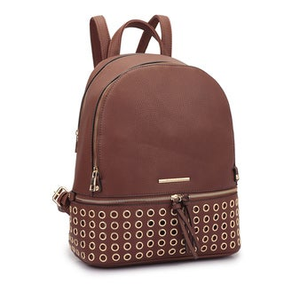 Dasein Faux Leather Round Studded Fashion Backpack