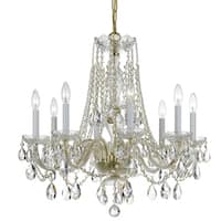Crystorama Traditional Crystal 8-light Brass/Crystal Chandelier - Polished brass