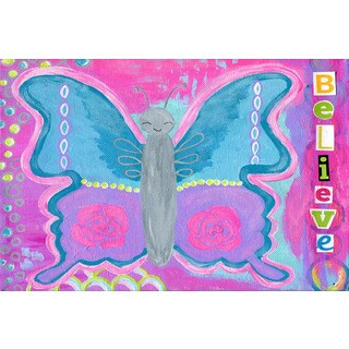 Marmont Hill - 'Believe Butterfly' by Jill Lambert Painting Print on Wrapped Canvas