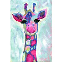 Marmont Hill - 'Giraffe' by Jill Lambert Painting Print on Wrapped Canvas - Blue
