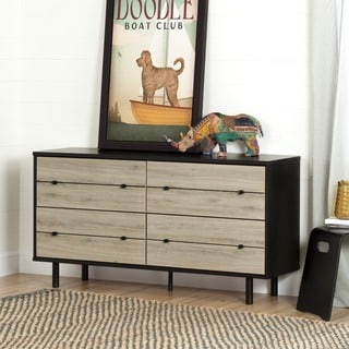 South Shore Morice Ebony Mid-Century Modern 4-Drawer Double Dresser