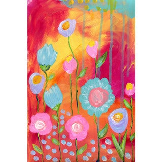 Marmont Hill - 'Flowers Sunset' by Jill Lambert Painting Print on Wrapped Canvas