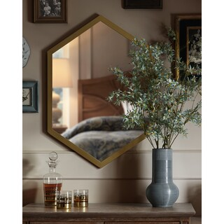 Madison Park Signature Hexi Gold Mirror with Wood Frame