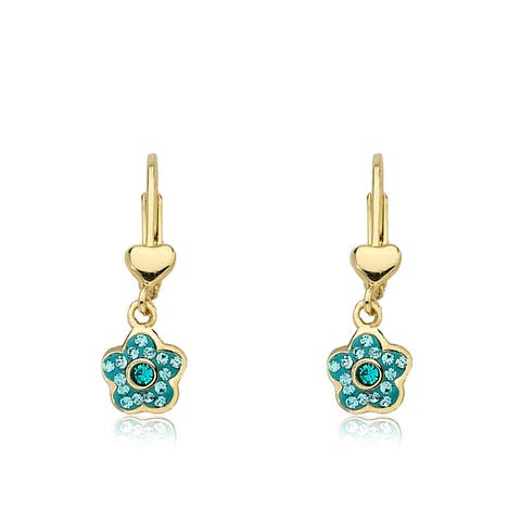 Molly Glitz Flowery Glitz Aqua Crystal Enamel Flower Dangle Leverback Earring