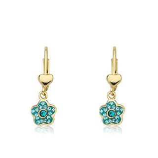 Molly Glitz Flowery Glitz 14k Gold-plated Aqua Crystal Enamel Flower Dangle Leverback Earring