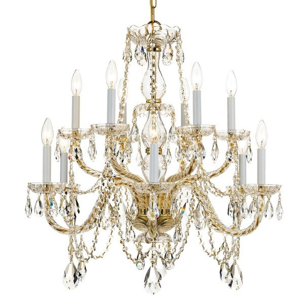 Crystorama Traditional Crystal Collection 12-light Polished Brass/Swarovski Spectra Crystal Chandelier - Polished Brass