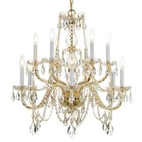 Crystorama Traditional Crystal Collection 12-light Polished Brass/Swarovski Strass Crystal Chandelier - Gold