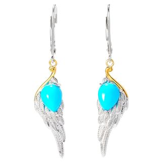 Michael Valitutti Palladium Silver Sleeping Beauty Turquoise Angel Wing Earrings