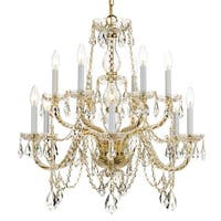 Crystorama Traditional Crystal Collection 12-light Polished Brass/Crystal Chandelier - Gold