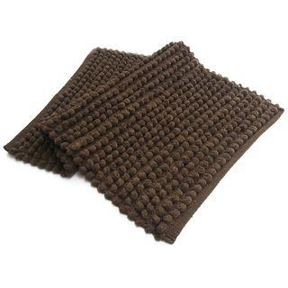Benzara Brown Plush Solid Pebbles Bath Rug (21 x 34)