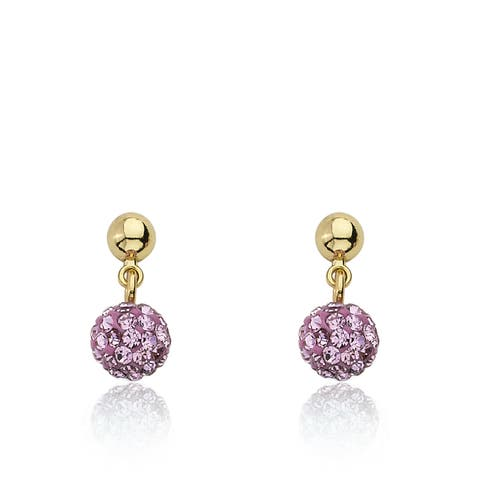 Molly Glitz Glitz Blitz Goldplated Pink Crystal Ball Dangle Earring