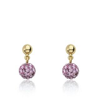 Molly Glitz Glitz Blitz Goldplated Pink Crystal Ball Dangle Earring