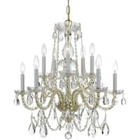 Crystorama Traditional Crystal 10-light Brass/Swarovski Spectra Crystal Chandelier - Brass/Clear