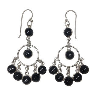 Handmade Black and Silver Brass Dangle Earrings (India)
