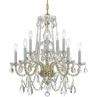 Crystorama Traditional Crystal 10-light Brass/Crystal Chandelier - Brass/Clear