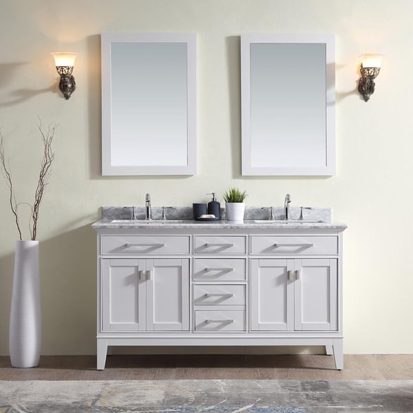 Ari Kitchen And Bath Danny Collection White Wood/Marble Double Bathroom  Vanity Set
