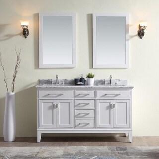 Ari Kitchen and Bath Danny Collection White Wood/Marble Double Bathroom Vanity Set