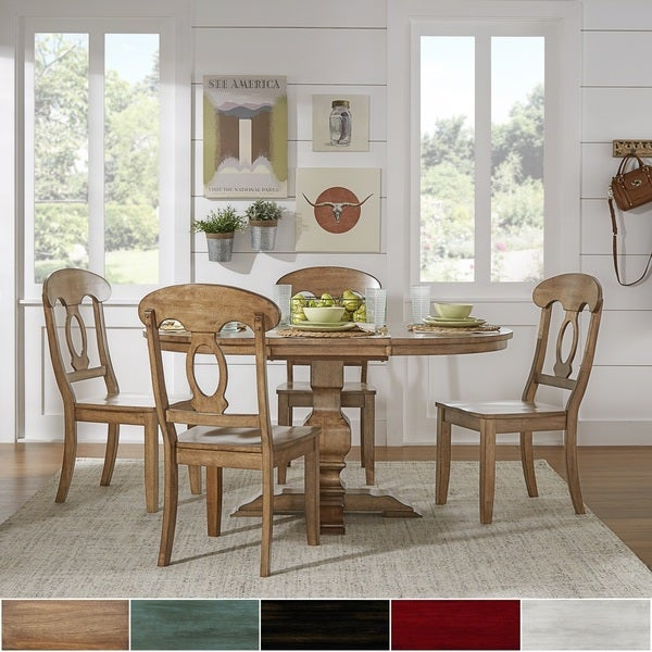 Eleanor Oak Solid Wood Oval Table 5-Piece Dining Set