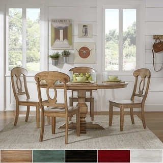 Eleanor Oak Solid Wood Oval Table 5-Piece Dining Set - Napoleon Back by TRIBECCA HOME