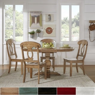 Eleanor Oak Solid Wood Oval Table Napoleon Back 5-piece Dining Set by iNSPIRE Q Classic
