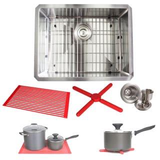 Ariel 23-inch Stainless Steel 15mm Radius Single Bowl 16 Gauge Undermount Kitchen Sink Complete Combo Accessories